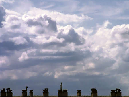 Illustration of the sky and the tops of roofs with copyspace Stock Photo