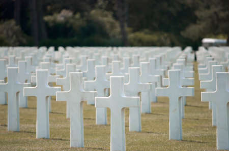 Thousends of Grave Stones at the American Cemetery in Colleville-sur-Mer at Omaha Beach, Normandy, France Editorial