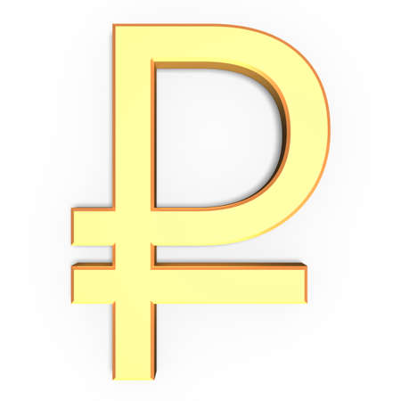 3D golden ruble sign isolated on white background.