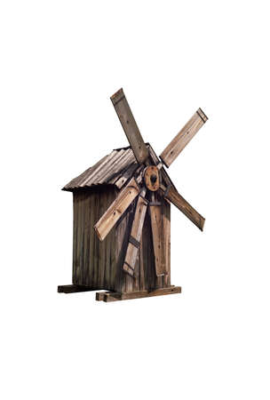 Isolated old wooden windmill on white background Stock Photo - 24732989