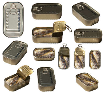 Set that include closed and open can of sardines shooted from different angles Stock Photo