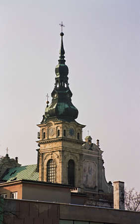 Christian tower of Dominican monastery in Tarnobrzeg Poland which is symbol of christianity