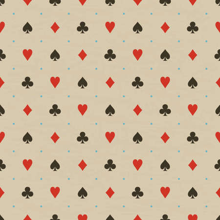Vector illustration of seamless pattern background with playing card suits