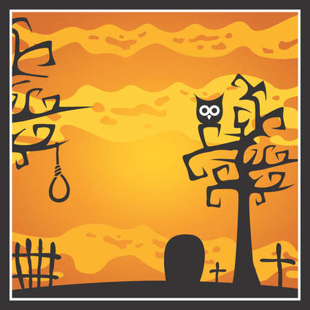 Halloween theme with trees, tombstone, cross, owl and gibbet. Halloween background vector illustration.