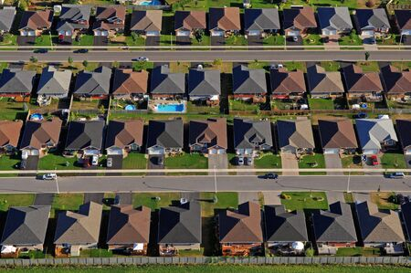 suburbia: Aerial of the North American suburb.