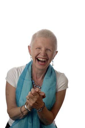 Senior woman laughs spontaneously. Stock Photo