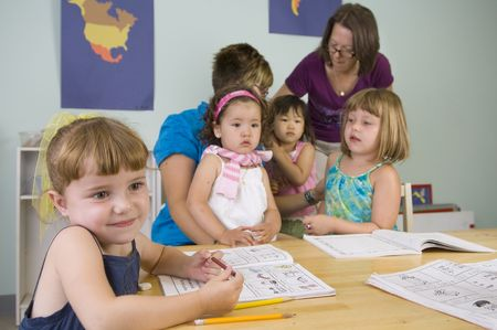 preschool: Children play and learn at the preschool class.