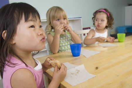 Children play and learn at the preschool class.