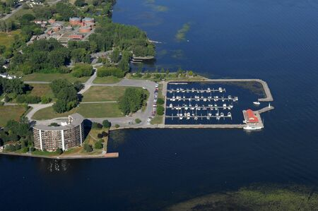 Aerial view of the city marina at the North American town. Stok Fotoğraf