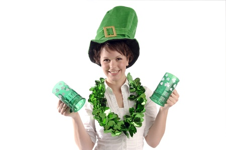 Young pretty woman wearing green hat celebrate St Patricks day.
