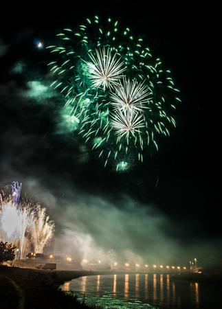 Detalle de los fuegos artificiales más grandes que duraron veintiún minutos en Skopje