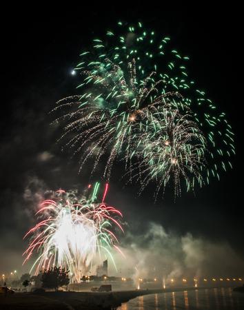 detalle de los cinco fuegos artificiales que treinta rublos en skopje Foto de archivo