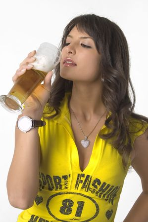 horologe: Pretty girl drinking beer from the glass