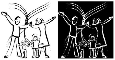 black family: Illustration family on a white and black background