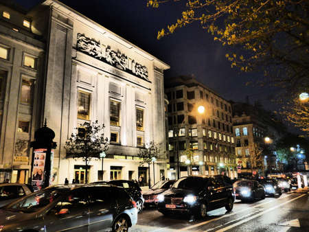 des: Theatre des Champs-Elysees in night 15 Avenue Montaigne 75008 Paris Editorial