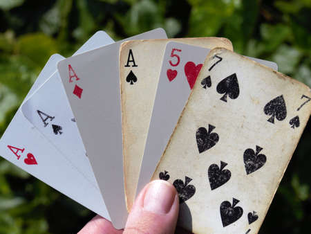 rummy: poker ace Playing cards gambling Stock Photo