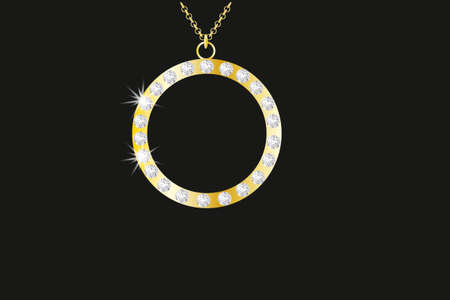 costume jewellery: golden necklace with diamond  Illustration