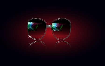 tinted glasses: Cool Photo Realistic Black Sunglasses Illustration