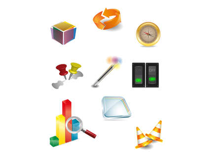Set of vector design elements  3D icons Vector