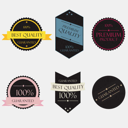 Collection of Premium Quality and Guarantee Labels Stock Vector - 14476363
