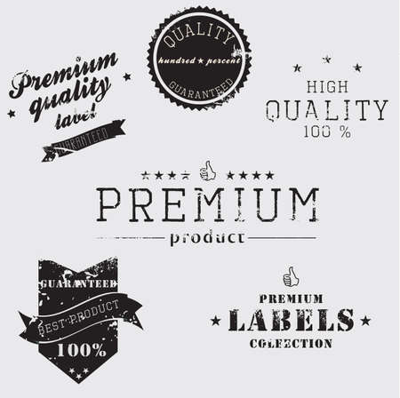 Vintage Premium Quality and Guarantee Label collection with grungy design