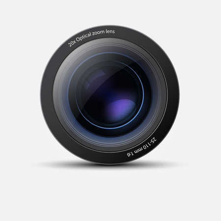 look at camera: Camera lens