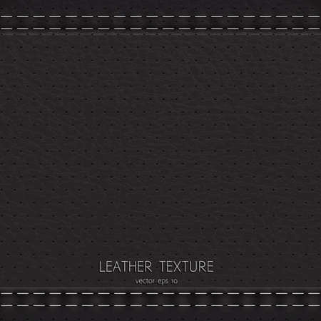 leather stitch: Black background made of leather texture
