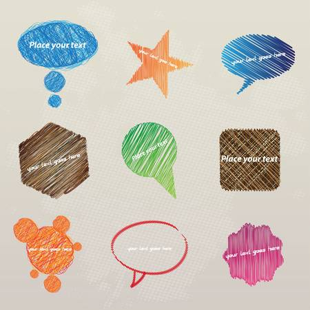 Set of hand drawn speech bubbles. Vector Vector