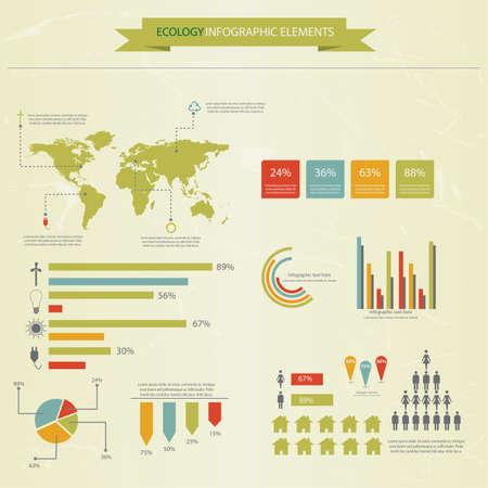 economies: Ecologie infographie collecte, graphiques, symboles, graphique vectoriel