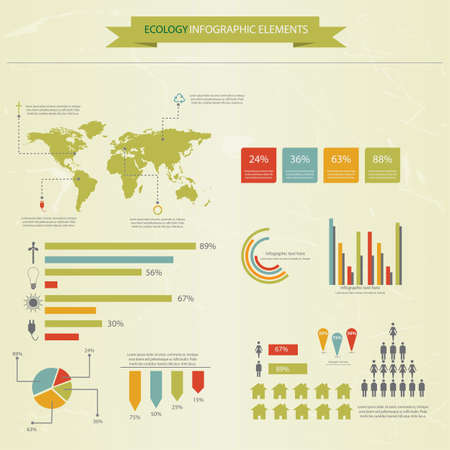 Ecology infographics collection, charts, symbols, graphic Vector