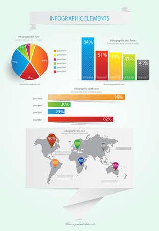 Mapa del Mundo y vector de informaci�n gr�fica Vectores