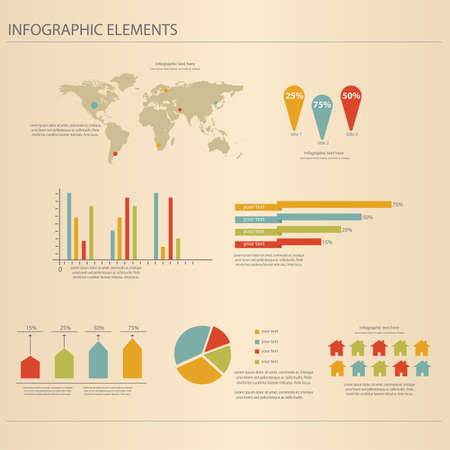 Retro infographics set  World Map and Information Graphics  Vector Vector