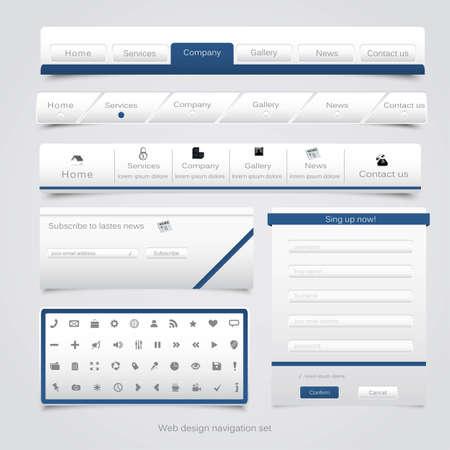 Web design navigation set  Vector Stock Vector - 15057190