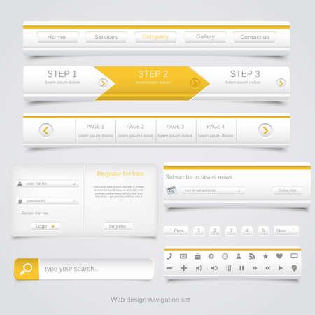 Web design di navigazione Vector set Vettoriali