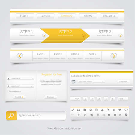 web navigation: Web design navigation set  Vector