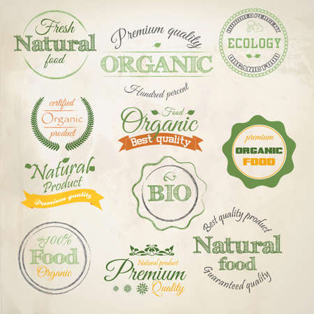 natural products: Retro etiquetas de estilo Alimentos Org�nicos Vectores