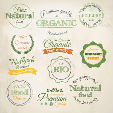 Retro stile etichette di prodotti biologici
