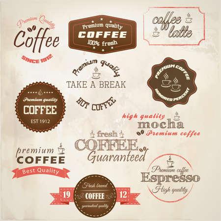 coffee beans: Retro stijl koffie labels Stock Illustratie