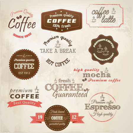 coffee beans: Retro styled coffee labels