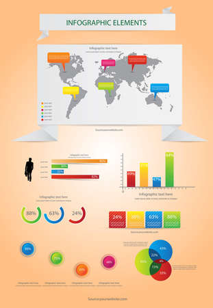 World Map and Information Graphics. Vector Vector