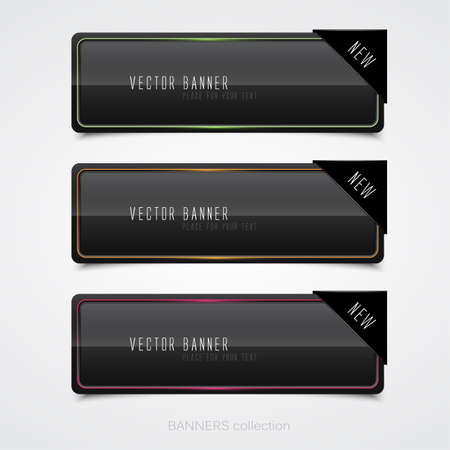 Glossy black banners. Vector Stock Vector - 16401725
