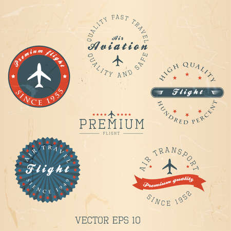 airplanes: Vintage retro flight badge. Vector