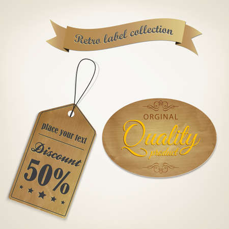 Retro styled old papers Labels . Vector Stock Vector - 16585003