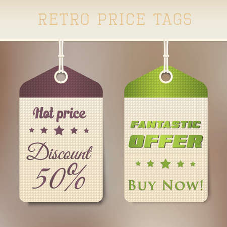 product background: Sale retro price tags. Vector Illustration