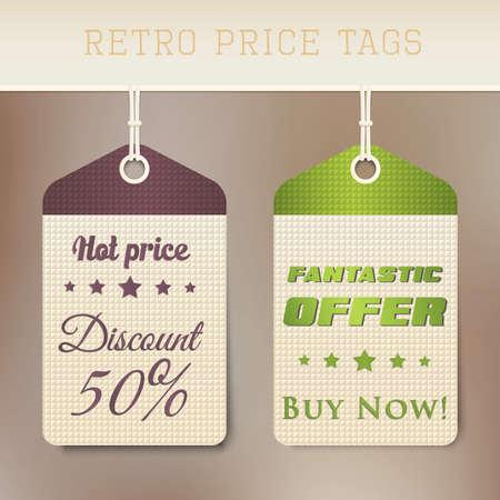 price cut: Vendita cartellini dei prezzi retr�. Vettore Vettoriali