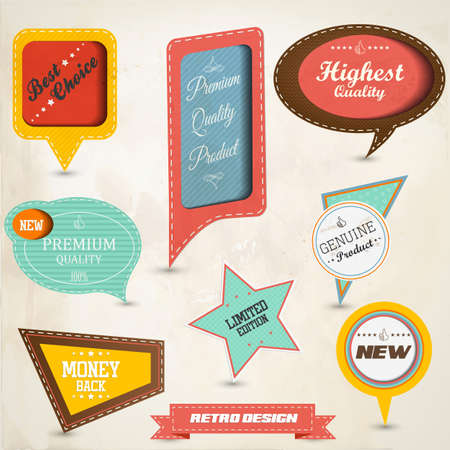 discount banner: Retro speech bubbles collection. Illustration