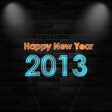 Happy New 2013 neon sign. Stock Vector - 16826875