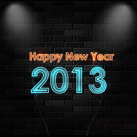 thirteen: Happy New 2013 neon sign.  Illustration