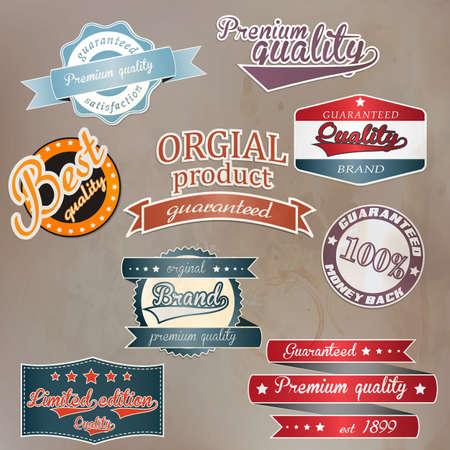 Conjunto de placa retro y las etiquetas.