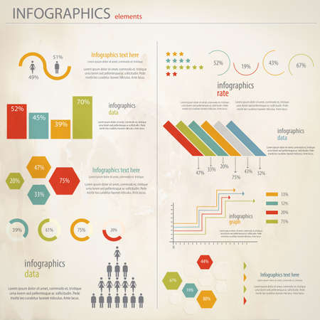 growth chart: Retro infographics set. Vector
